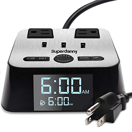 SUPERDANNY Alarm Clock Charger Power Strip Surge Protector UL Approval USB 3.2A Charging Station 2 Outlets 6.5ft Extension Cord for iPhone iPad Samsung Computer Laptop Home Travel Hotel Bedside (Alarm Clock With Usb Charger)