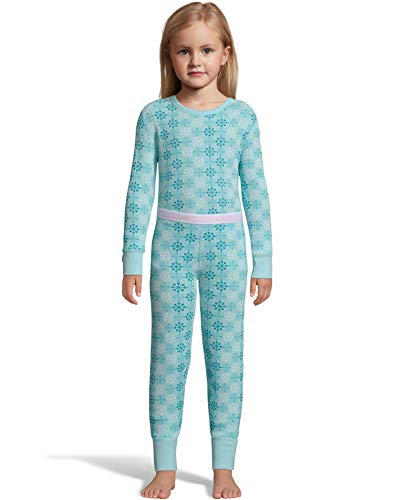Hanes Girls Waffle Knit Thermal Set, XS, Blue Snow Flake Print ()