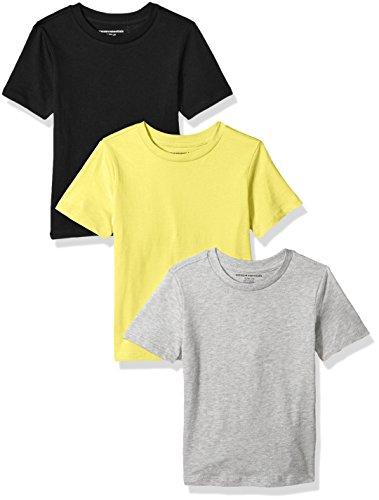 Amazon Essentials Big Boys' 3-Pack Short Sleeve Tee, Yellow/Heather Grey/Black, L (10)