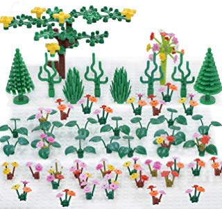 Plant Building Bricks Supplement, Garden Pack Trees and Flowers Botanical Accessories Block Compatible with All Major Brands Kids Games (Flowers and Trees)