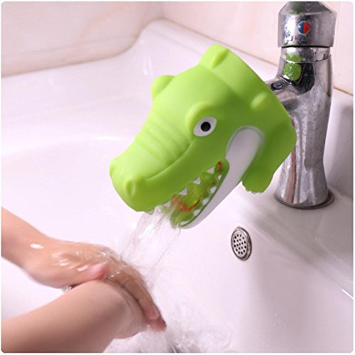 Tpingfe Cute Animal Faucet Extender, Kitchen Bathroom Silicone Sink Handle Extender Washing Easily for Child (Crocodile)
