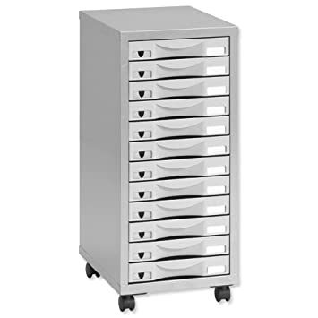 Delicieux Pierre Henry 12 Multi Drawer Filing Cabinet   Silver/ Grey