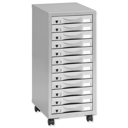 Pierre Henry 12 Multi Drawer Filing Cabinet - Silver/Grey