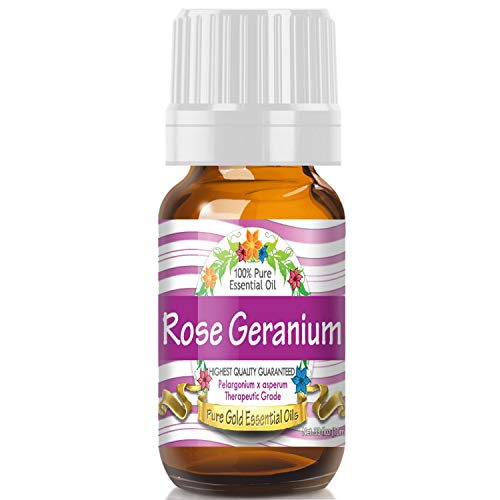 Rose Geranium Essential Oil (100% Pure, Natural, UNDILUTED) 10ml - Best Therapeutic Grade - Perfect for Your Aromatherapy Diffuser, Relaxation, More!