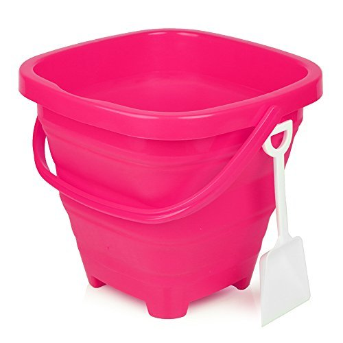 Packable Pails - Collapsible Silicone Bucket [5 Liter] with Handle + Shovel | Travel, Beach, Sandbox, Camping, Fishing, Outdoors, Water, Gardening, Cleaning, Car wash | Kids Easter Gift Basket (Pink) (Pink Bowl Wash)