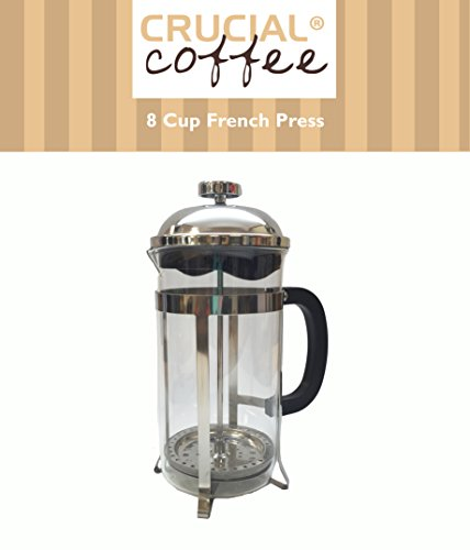 Squiffy Quality 8 Cup French Press Coffee and Espresso Maker, Brews 1 Liter / 34 Ounce (8 Coffee Cups - 4 Coffee Mugs), by Ponder Crucial