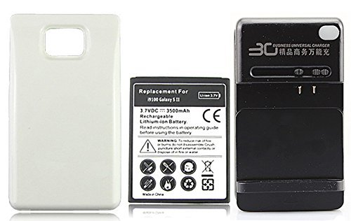 Chariot Trading - Extended 3500mAh Battery +White Back Cover + wall Charger For Samsung Galaxy S2 i9100 - CJ-BG-000507