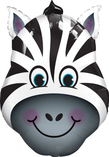 Qualatex Zany Zebra Shaped Jumbo Foil - Balloon Foil Giant Shaped