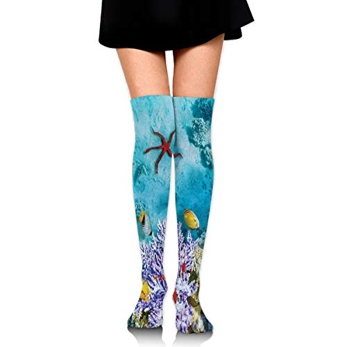 Exotic Coral Reef (HFJDLSK Knee High Compression Socks Men & Women - Tropical and Exotic Coral Reefs Fish School Pattern - Perfect for Nurses, Runners, Athletes, Diabetics)