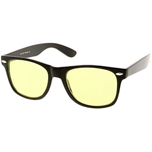 zeroUV - Blue Blocking Driving Horn Rimmed Sunglasses Amber Tinted Lens 54mm (2 Black ()