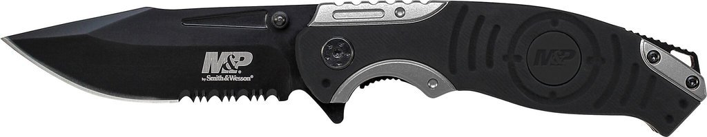Smith & Wesson M&P SWMP13GS 8.2in High Carbon S.S. Folding Knife with 3.5in Serrated Clip Point Blade and Aluminum Handle for Outdoor, Tactical, Survival and EDC