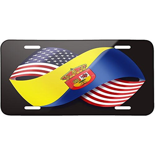Friendship Flags USA and Gran Canaria region Spain Metal License Plate 6X12 Inch by Saniwa