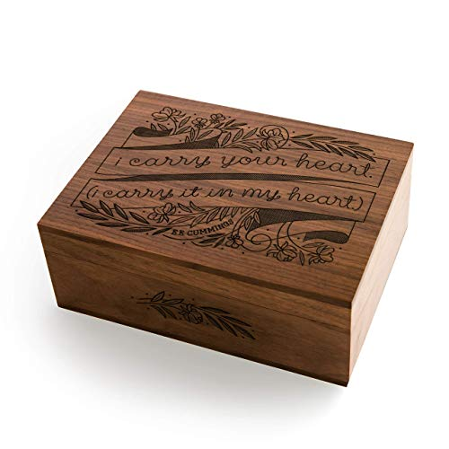 (I Carry Your Heart E.E. Cummings Laser Cut Wood Keepsake Box [Valentine's Day/Wedding Gift/Anniversary/Baby Shower/Love/Heirloom/Mother's Day Gift])