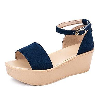 Bajo 2'5 cms Brown Confort Sandalias Azul Verano Mujer Otoño LvYuan Fucsia 4'5 Marrón Cuero Confort Vestido Tacón Oscuro zR6nwq