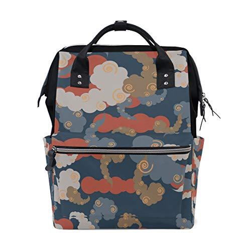 (MUOOUM Clound Colorful Vertigo Circle Diaper Bags Mommy Bag Nappy Nursing Backpack for Baby Care Multi-Function Zipper Casual Travel Backpacks)