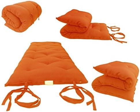 D D Futon Furniture Twin Size Orange Traditional Japanese Floor Rolling Futon Mattresses, Foldable Cushion Mats, Yoga, Meditation 39 W x 80 L