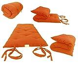 Brand New Orange Traditional Japanese Floor Futon Mattresses 3''thick X 30''wide X 80''long, Foldable Cushion Mats, Yoga, Meditaion.