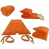D&D Futon Furniture Brand New Full Size Orange Traditional Japanese Floor Futon Mattresses, Foldable Cushion Mats, Yoga, Meditaion 54 Wide X 80 Long