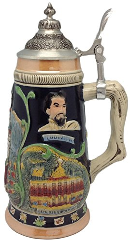 - German Ludwig Castle Theme Beer Stein with Ornate Metal Lid