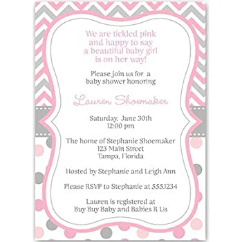Baby Shower Invitations, Baby Girl, Chevron Stripes, Polka Dots, Pink, Gray