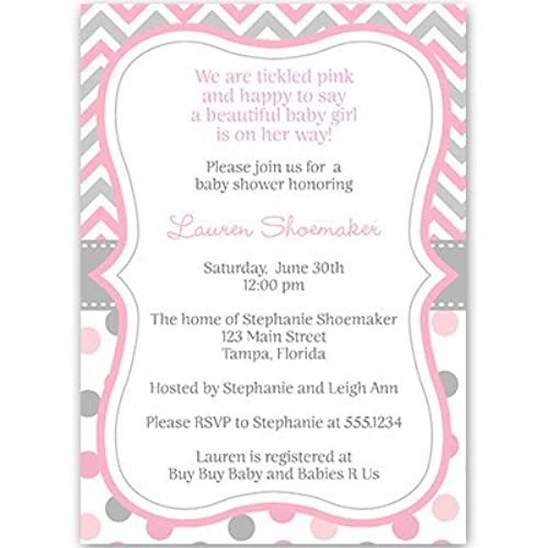 Baby Shower Invitations, Baby Girl, Chevron Stripes, Polka Dots, Pink, Gray,  Grey, Sprinkle, Personalized, Customized, Set Of 10 Printed Invites And ...