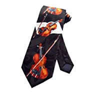 Steven Harris Violin Viola Music Instrument Necktie - Black - One Size Neck Tie