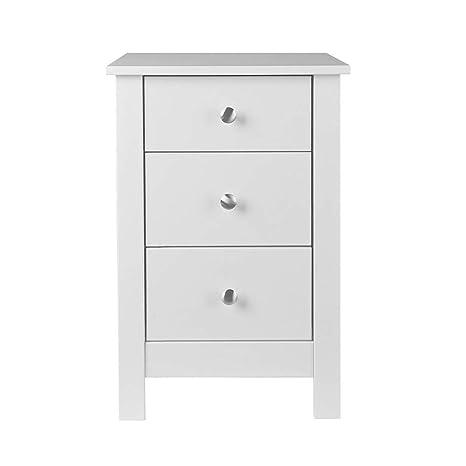 NJA Furniture Shaker - Mesilla de Noche con 3 Cajones, 40 x 40 x 60 cm, Blanco