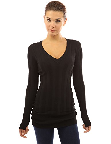 PattyBoutik Women's V Neck Ribbed Tunic Knit Top (Black L)