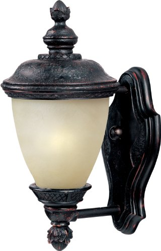 Maxim 86595MOOB Carriage House EE 1-Light Outdoor Wall Lantern, Oriental Bronze Finish, Mocha Glass, GU24 Fluorescent Fluorescent Bulb , 60W Max., Dry Safety Rating, Standard Dimmable, Glass Shade Material, 1344 Rated Lumens ()