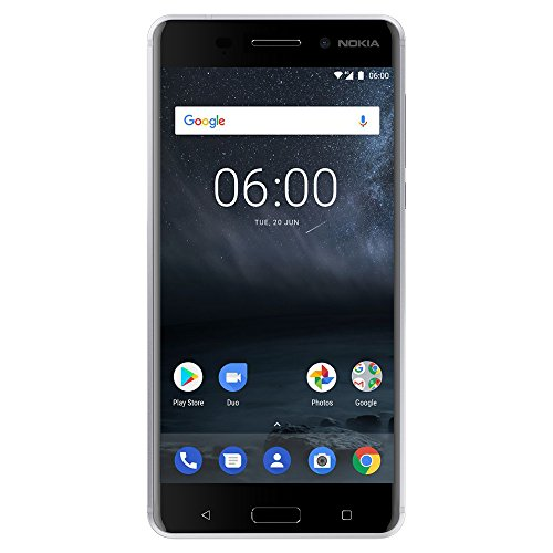 "Nokia 6 - Android 8.0 - 32 GB - 16MP Camera - Dual SIM Unlocked Smartphone (AT&T/T-Mobile/MetroPCS/Cricket/H2O) - 5.5"" FHD Screen - Silver - U.S. Warranty"