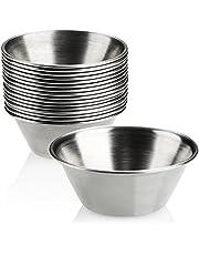 COM-FOUR® 16x såsskålar - små skålar - liten skål för såser, doppar och snacks - mellanmålskålar - kryddskål - liten metallskål - rostfritt stål