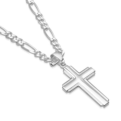 Mens Sterling Figaro Chain Silver (Mens Sterling Silver Cross Pendant Figaro Chain Necklace Italian Made - 4mm - 22 Inch)