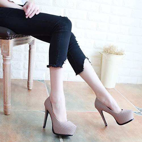 KPHY Damenschuhe/Herbst Gut 12Cm Bei Fuß 12Cm Gut High-Heel Wasserdicht Dünne Frauen Schuhe Sexy Farbe Zeigten Flache Schuhe.34 des  - 49fccd