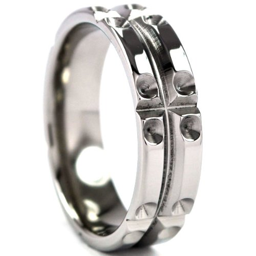 Titanium Ring with Milled Matrix Designs, Men's Rings, Titanium Band