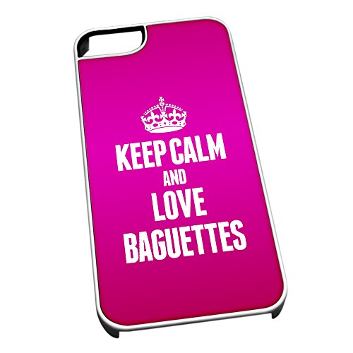 Bianco cover per iPhone 5/5S 0793Pink Keep Calm and Love baguette