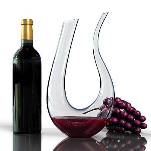 Wine Decanter U-Shaped Horn Design Fine Occasion 1750ML Hand Made Crystal Wine Aerator with Dual Head