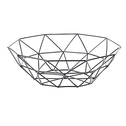 Wire Fruit Basket, Buery Round Metal Fruit Basket Table Decorative Centerpiece Holder, Large Countertop Fruit Bowl for Fruit Vegetable, Bread, Candy and other Household Items, 10 Inch (Black-small)
