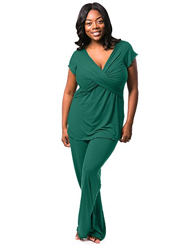 Kindred Bravely Davy Ultra Soft Maternity & Nursing Pajamas Sleepwear Set (Evergreen, Small) by Kindred Bravely (Image #2)