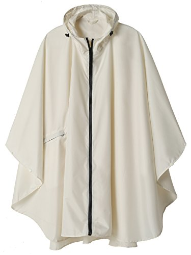 Rain Poncho Jacket Coat for Adults Hooded Waterproof with Zipper Outdoor (Beige)