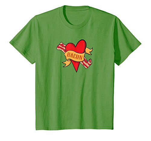 Kids Bacon Heart Fun T-Shirt For Bacon Lovers And Gourmets 4 Grass