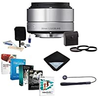 Sigma 30mm f/2.8 DN ART Lens for Micro Four Thirds Cameras, Silver - Bundle with 46mm Filter Kit (UV/CPL/ND2), Lens Cap Leash, Cleaning Kit, Lens Wrap, Special Professional Software Package