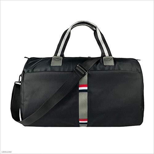 Yangjiaxuan Europe And America Solid Color Stripes Travel Bag Waterproof Wear Large Capacity Package (Color : Black)