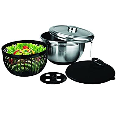 The Smithy Stainless Steel Salad Spinner with Serving Bowl and Storage Lid