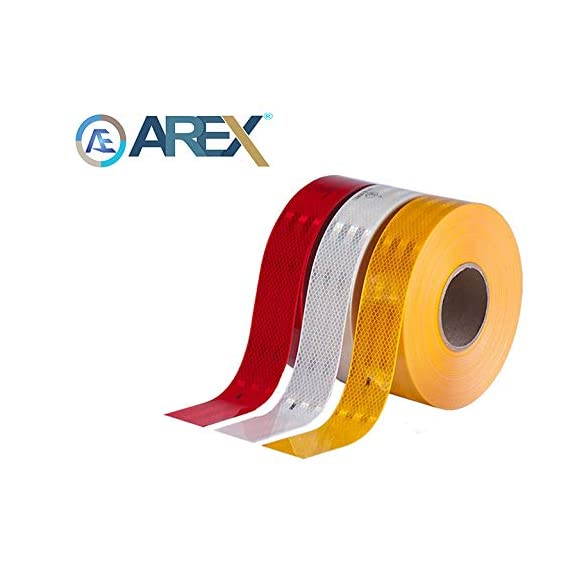 AREX 3m High Intensity Reflective ECE 104 Compliant Government Approved Tape 2 inch X 2 Ft White, red and Yellow Pack of