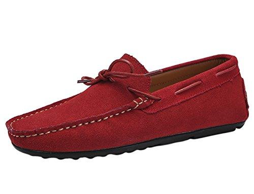 SK Studio Hommes Mocassins Daim Loafers Chaussures de Conduite Noir/Bleu Grande Taille Chaussures de Ville Rouge