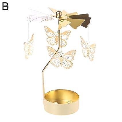 Papillon 9302sonoaud Bougeoir M/étal tournant la d/écoration de Vacances de Tableau de Support de lumi/ère de th/é de Bougie de carrousel de Spinner B