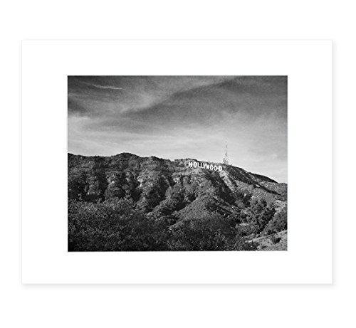 Hollywood Sign Black and White Vintage Wall Art, Tinseltown Landscape Decor 8x10 Matted Print, 'Old Hollywood' (California Framed Photograph)