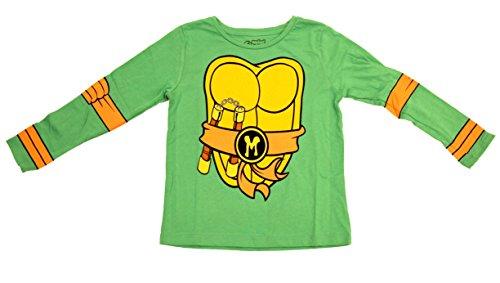 Teenage Mutant Ninja Turtles Long Sleeve Costume Toddler Green T-Shirt & Eye Mask (Toddler 5/6T, Green Michelangelo) -