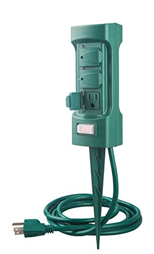 (MaxWorks 80710 6-Outlet Double Sided Outdoor Power Stake with Covers-14 AWG x 3C-with Overload Protection-ETL Certified, 6 Ft. Green)