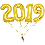 Mcolour Balloon New Years Balloons, 42 Inch 2019 Balloons Gold, Multipurpose Inflatable Balloon for New Year Festival Party Decorations Event Anniversary Graduation Festival Decor Supplies